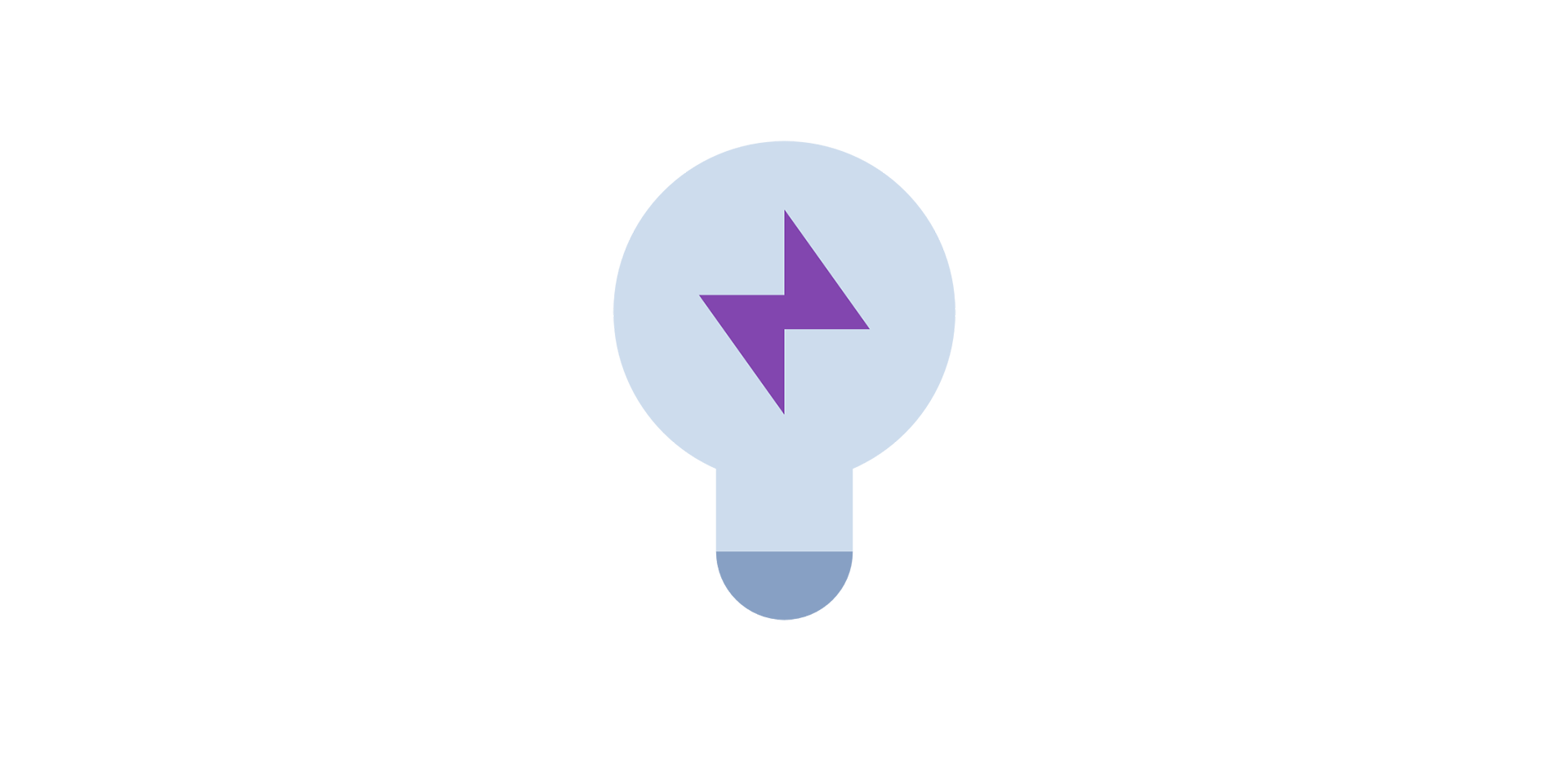 Lightbulb icon with a purple lightning bolt inside it